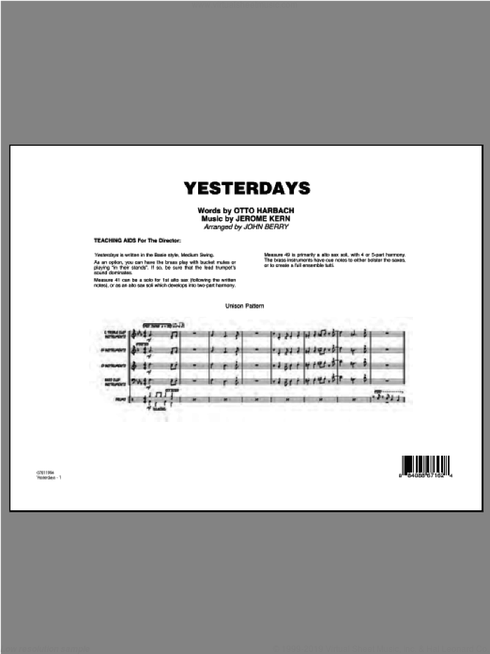 Yesterdays (COMPLETE) sheet music for jazz band ( Ensemble) by Jerome Kern, Otto Harbach and John Berry, intermediate skill level