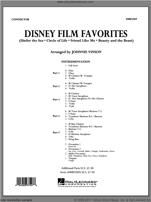 Disney Film Favorites (COMPLETE) sheet music for concert band by Johnnie Vinson