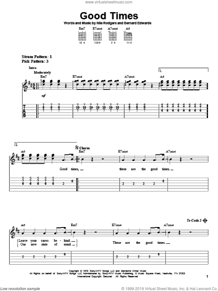 Good Times sheet music for guitar solo (easy tablature) by Chic, Bernard Edwards and Nile Rodgers, easy guitar (easy tablature)