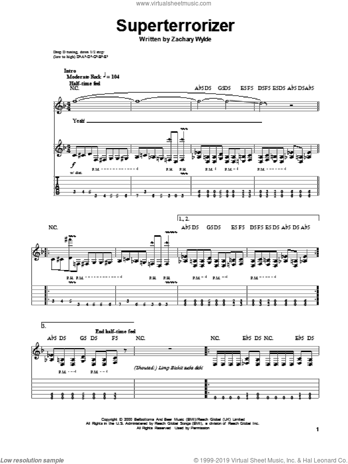Superterrorizer sheet music for guitar (tablature, play-along) by Black Label Society and Zakk Wylde, intermediate