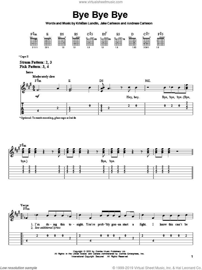 Bye Bye Bye sheet music for guitar solo (easy tablature) by 'N Sync, Andreas Carlsson, Jake Carlsson and Kristian Lundin, easy guitar (easy tablature)
