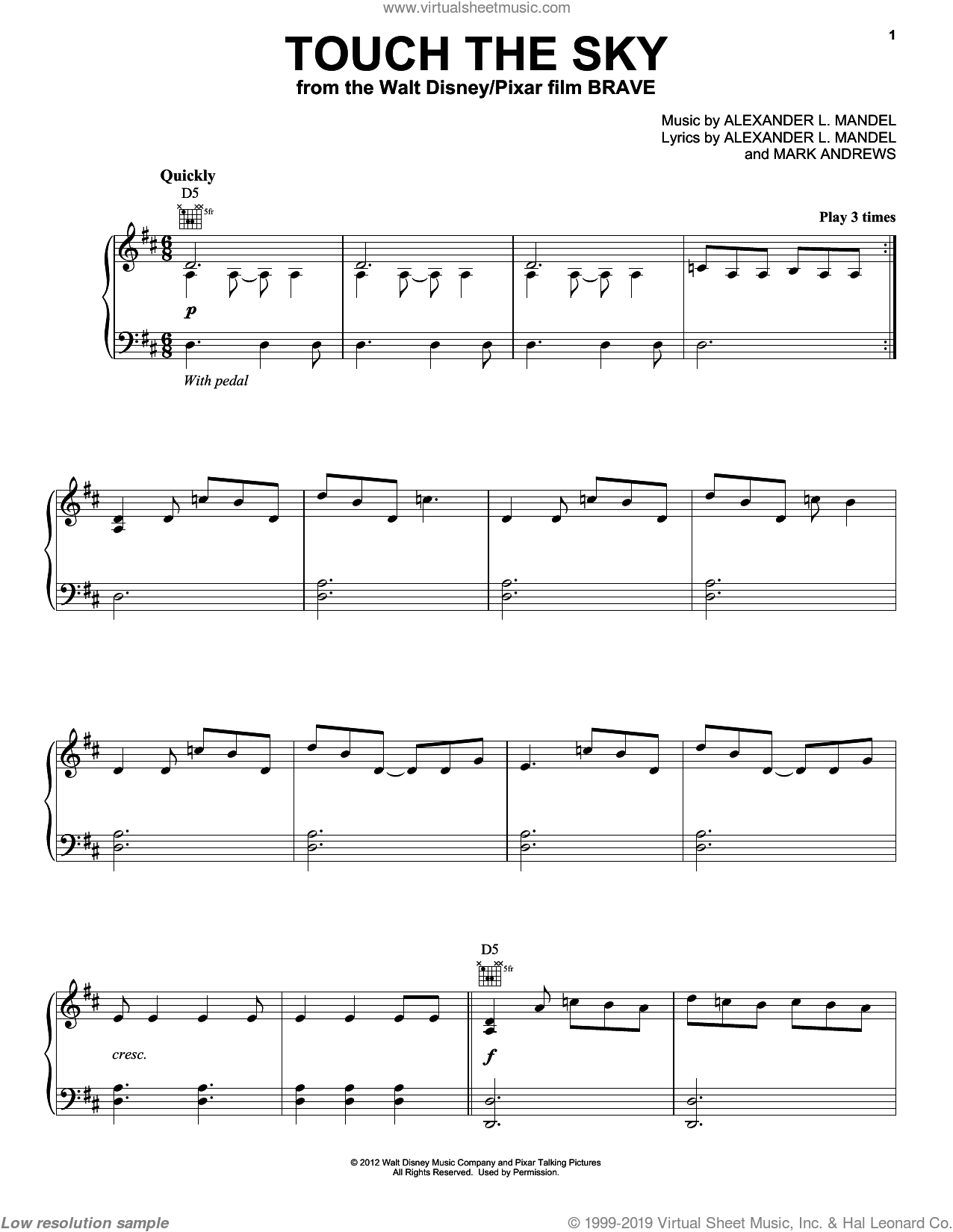 Touch The Sky sheet music for voice, piano or guitar by Julie Fowlis, Alexander L. Mandel, Brave (Movie) and Mark Andrews, intermediate. Score Image Preview.