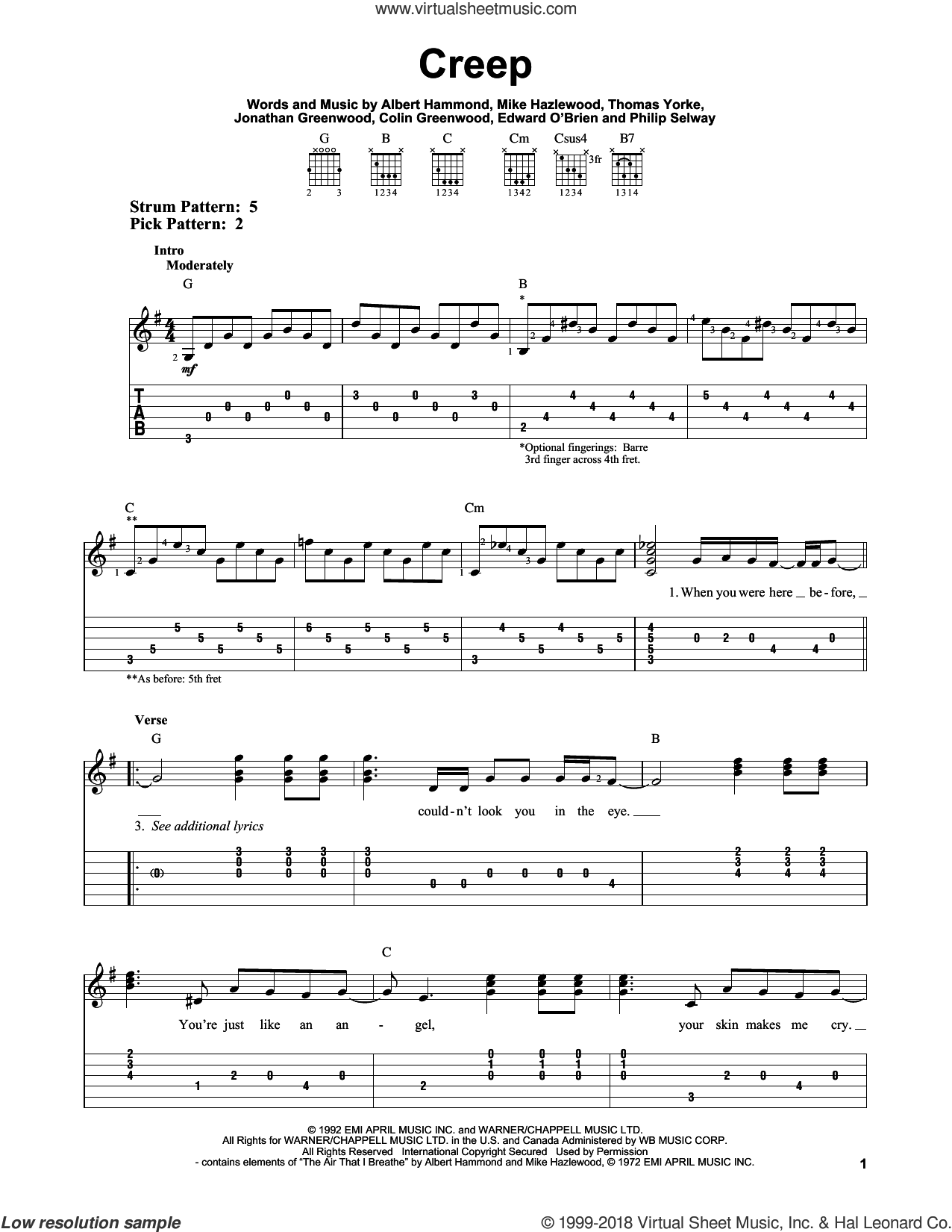 Creep sheet music for guitar solo (easy tablature) by Radiohead, Albert Hammond, Colin Greenwood, Jonathan Greenwood, Michael Hazlewood, Philip Selway and Thom Yorke, easy guitar (easy tablature)