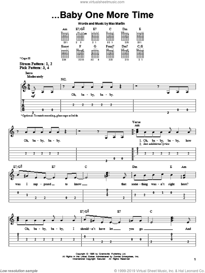 ...Baby One More Time sheet music for guitar solo (easy tablature) by Britney Spears, Merle Travis and Max Martin, easy guitar (easy tablature)