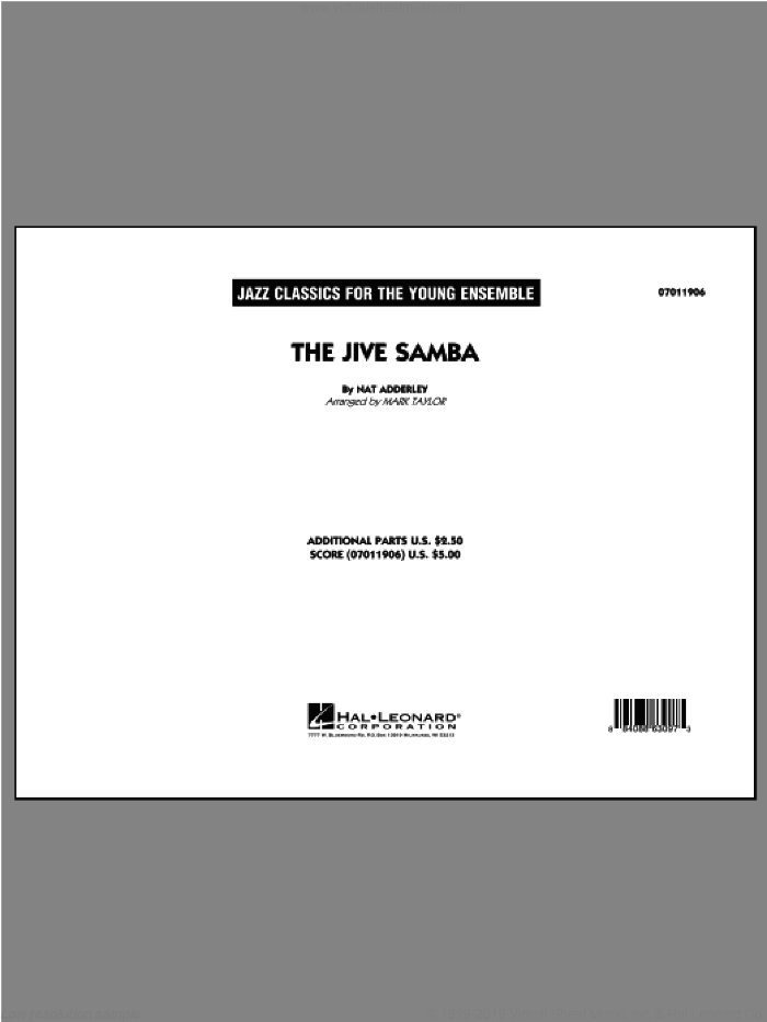 The Jive Samba sheet music for jazz band (full score) by Cannonball Adderley