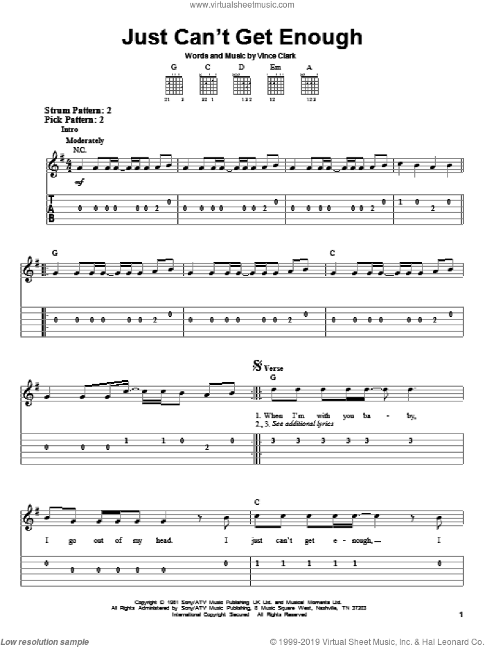 Just Can't Get Enough sheet music for guitar solo (easy tablature) by Vince Clark