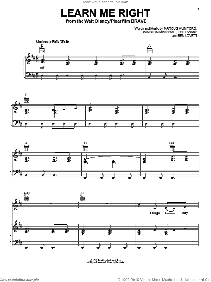 Learn Me Right sheet music for voice, piano or guitar by Winston Marshall
