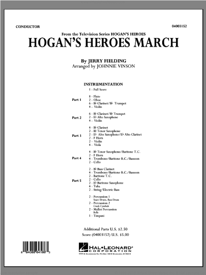 Hogan's Heroes March (COMPLETE) sheet music for concert band by Jerry Fielding and Johnnie Vinson, intermediate skill level