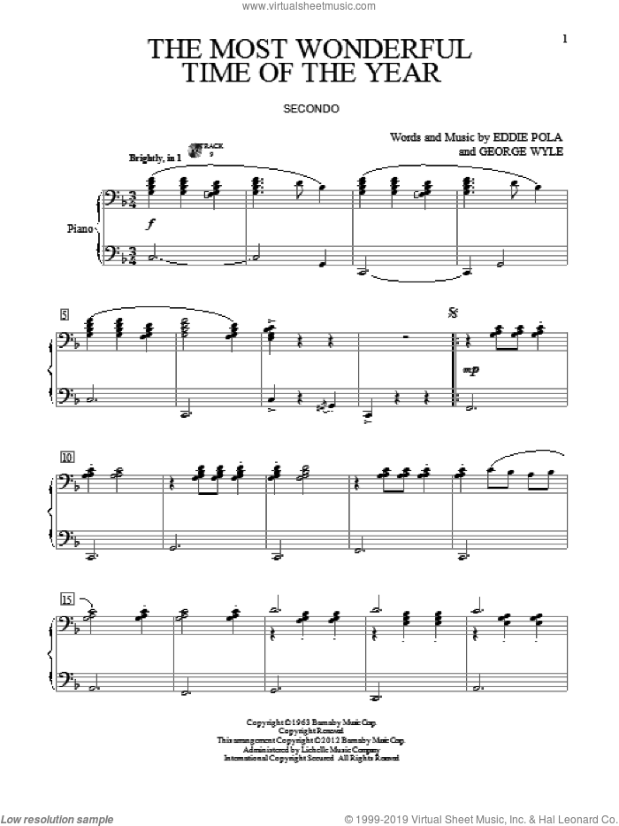 The Most Wonderful Time Of The Year sheet music for piano four hands (duets) by George Wyle and Eddie Pola, Christmas carol score, intermediate piano four hands. Score Image Preview.