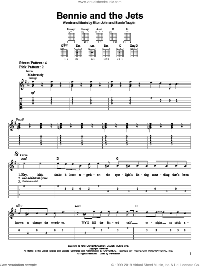 Bennie And The Jets sheet music for guitar solo (easy tablature) by Bernie Taupin and Elton John. Score Image Preview.