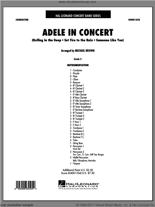Adele In Concert (COMPLETE) sheet music for concert band by Michael Brown