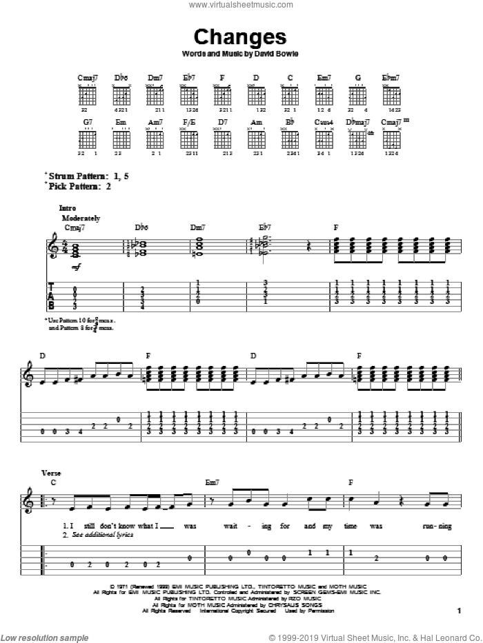 Changes sheet music for guitar solo (easy tablature) by David Bowie, easy guitar (easy tablature)