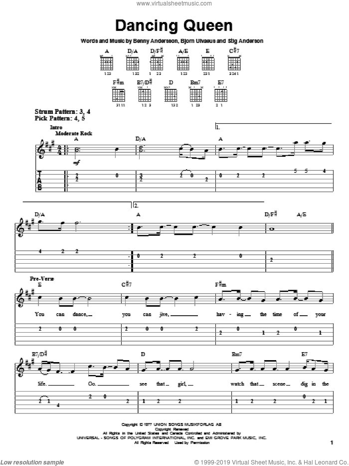 Dancing Queen sheet music for guitar solo (easy tablature) by Stig Anderson, ABBA, Benny Andersson and Bjorn Ulvaeus. Score Image Preview.