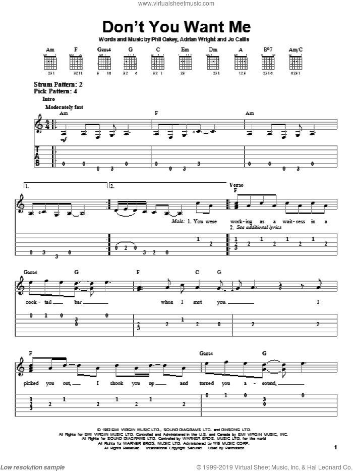Don't You Want Me sheet music for guitar solo (easy tablature) by The Human League, easy guitar (easy tablature). Score Image Preview.