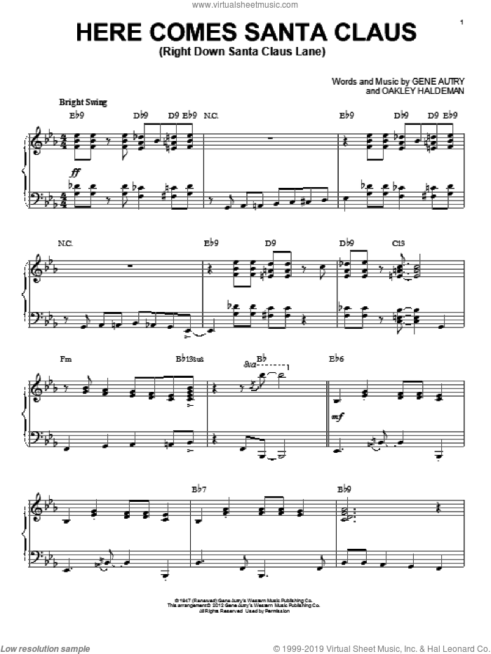 Here Comes Santa Claus (Right Down Santa Claus Lane) sheet music for piano solo by Gene Autry and Carpenters, intermediate. Score Image Preview.