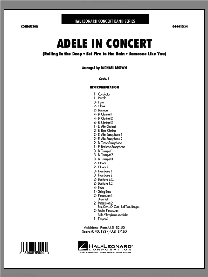 Adele In Concert (COMPLETE) sheet music for concert band by Adele and Michael Brown, intermediate concert band. Score Image Preview.