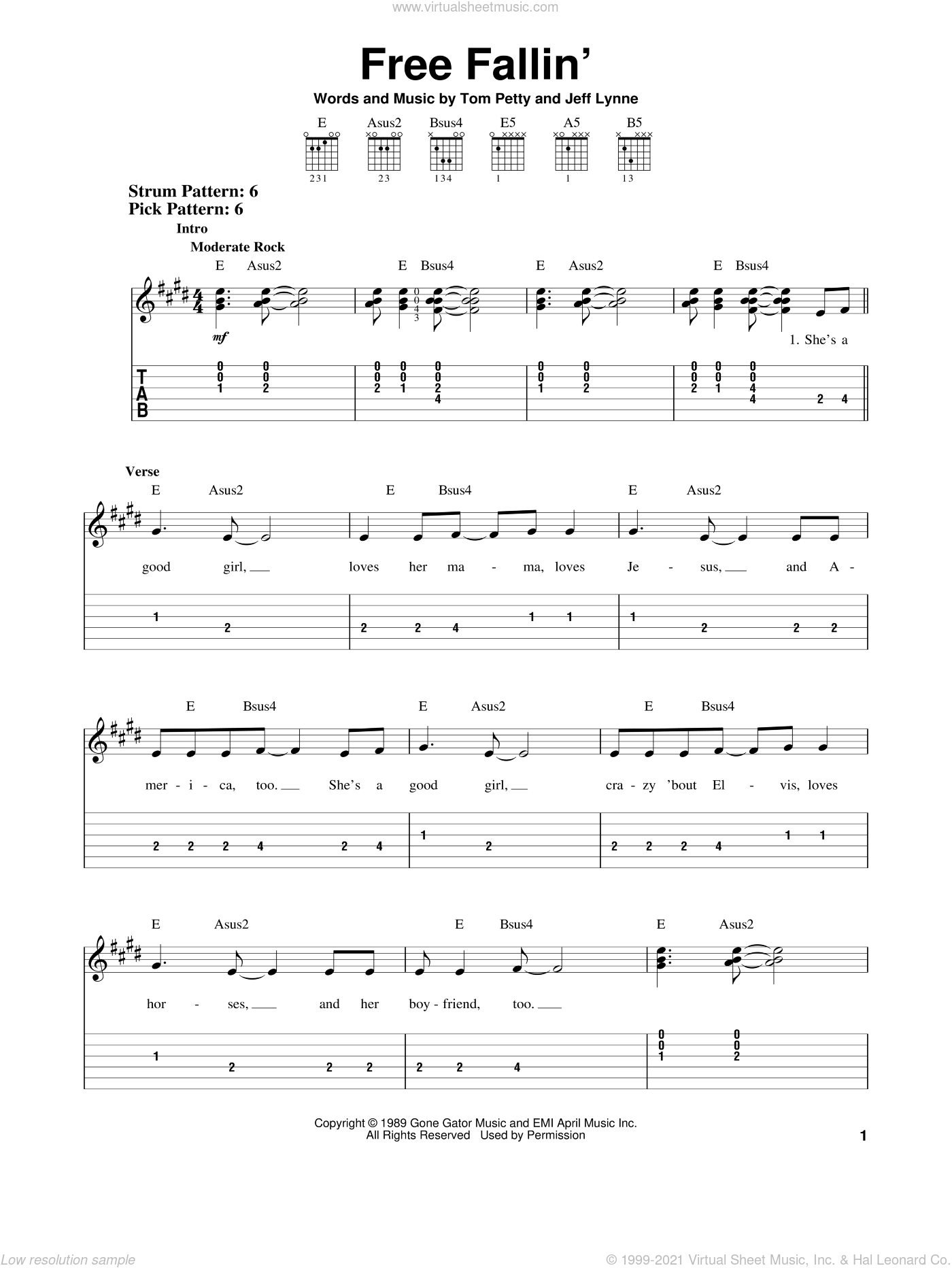 Free Fallin' sheet music for guitar solo (easy tablature) by Jeff Lynne and Tom Petty. Score Image Preview.