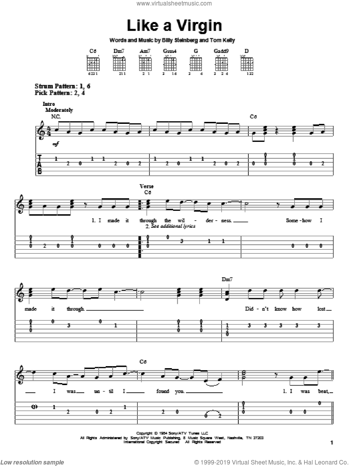 Like A Virgin sheet music for guitar solo (easy tablature) by Madonna, Billy Steinberg and Tom Kelly, easy guitar (easy tablature). Score Image Preview.
