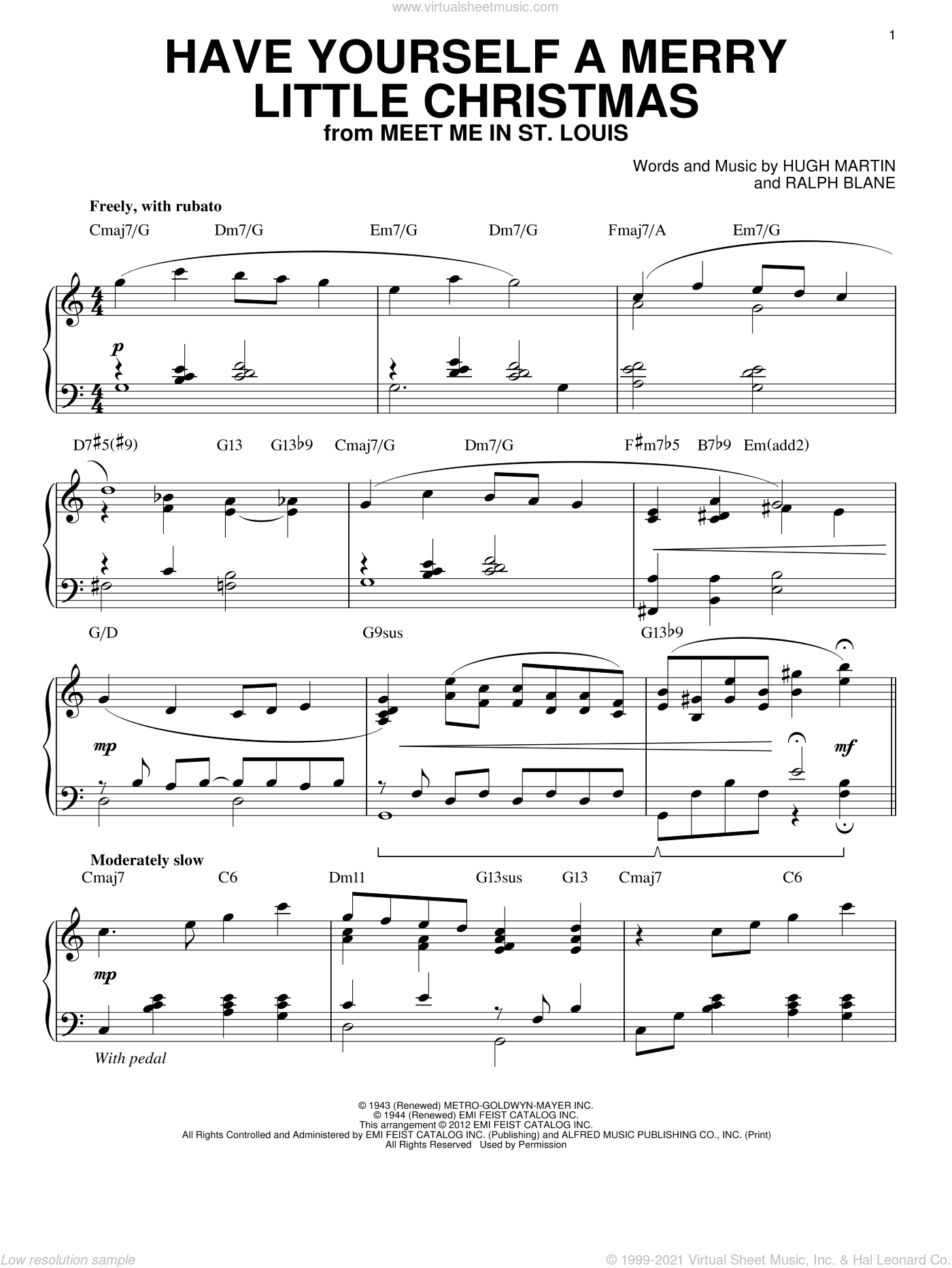 Have Yourself A Merry Little Christmas sheet music for piano solo by Ralph Blane, Frank Sinatra and Hugh Martin, intermediate skill level