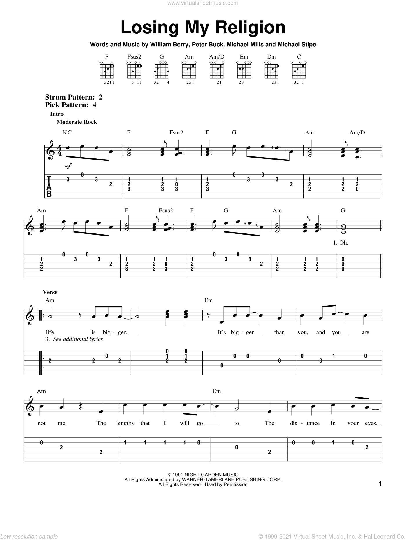 Losing My Religion sheet music for guitar solo (easy tablature) by R.E.M., Bill Berry, Michael Stipe, Mike Mills and Peter Buck, easy guitar (easy tablature)