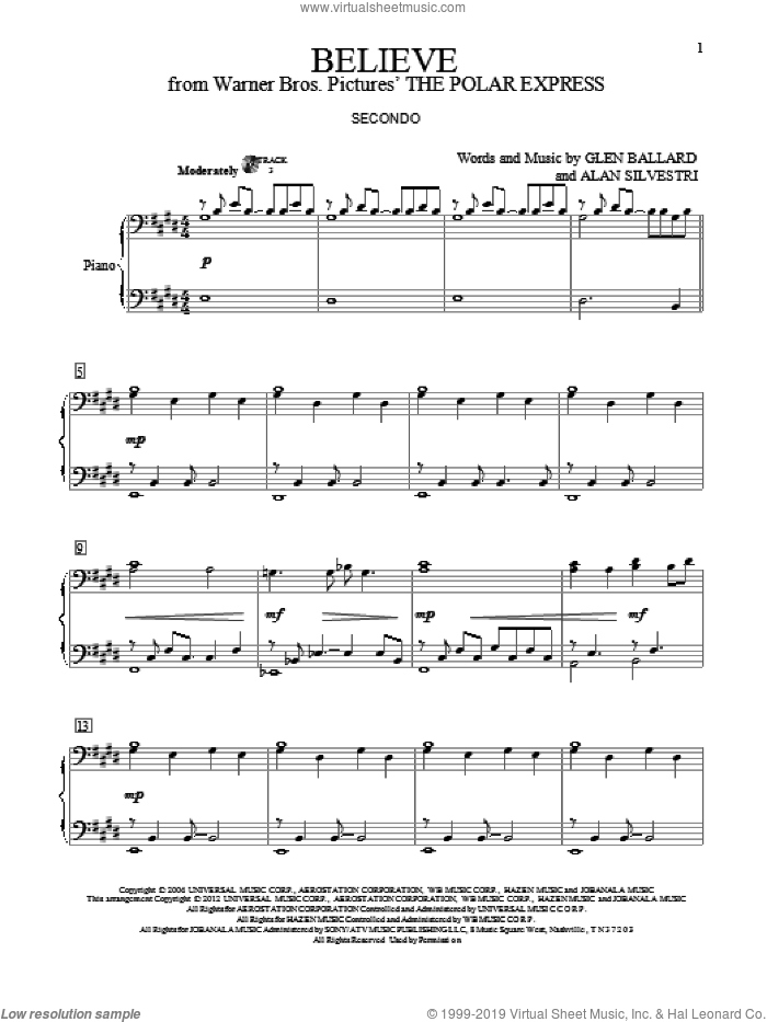 Believe sheet music for piano four hands (duets) by Glen Ballard, Alan Silvestri and Josh Groban. Score Image Preview.