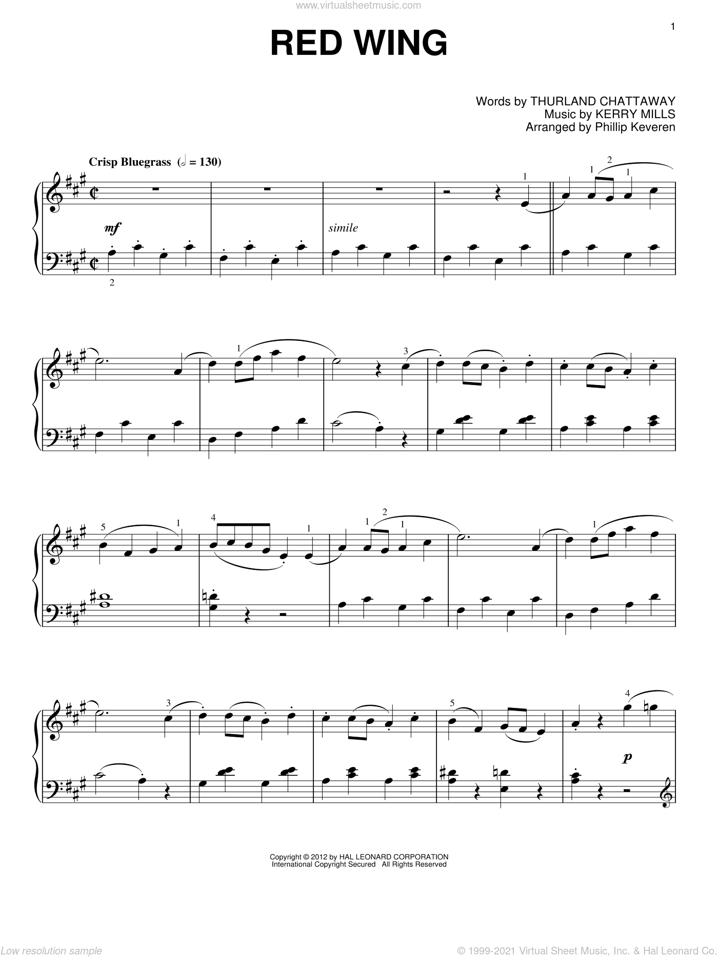 Red Wing sheet music for piano solo by Phillip Keveren, Kerry Mills and Thurland Chattaway, intermediate skill level