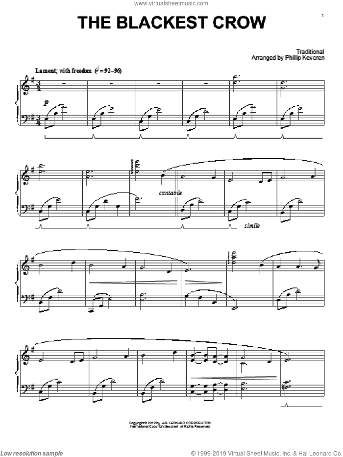 The Blackest Crow sheet music for piano solo by Phillip Keveren, intermediate skill level