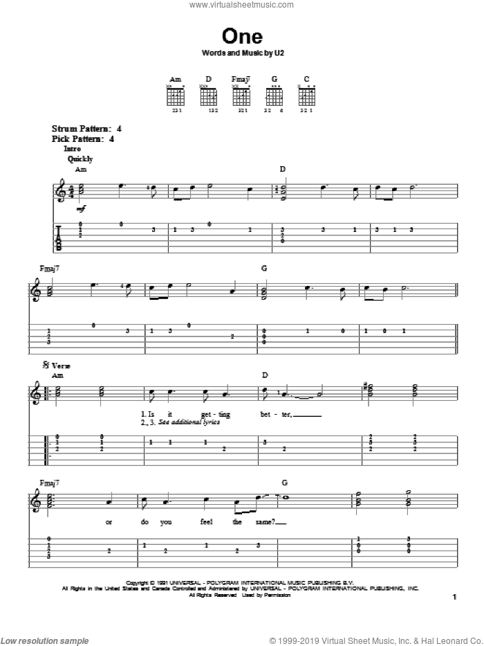 One sheet music for guitar solo (easy tablature) by The Edge, Johnny Cash, Bono and U2. Score Image Preview.
