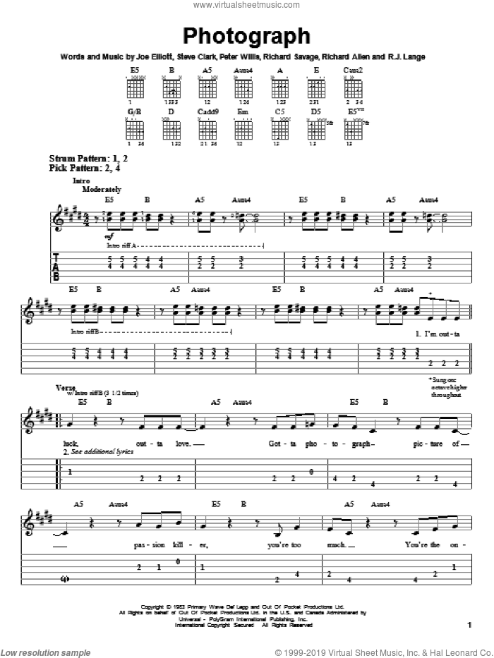 Photograph sheet music for guitar solo (easy tablature) by Def Leppard and Robert John Lange, easy guitar (easy tablature). Score Image Preview.