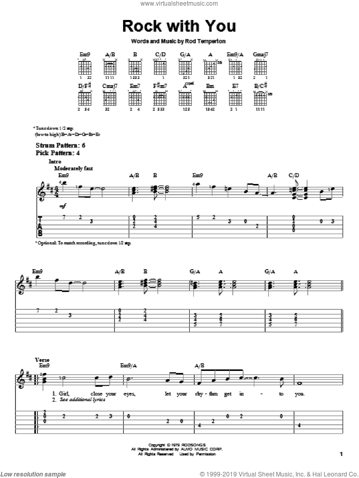 Rock With You sheet music for guitar solo (easy tablature) by Rod Temperton