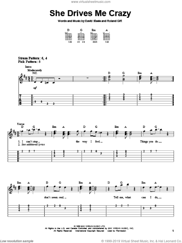 She Drives Me Crazy sheet music for guitar solo (easy tablature) by Fine Young Cannibals, easy guitar (easy tablature). Score Image Preview.