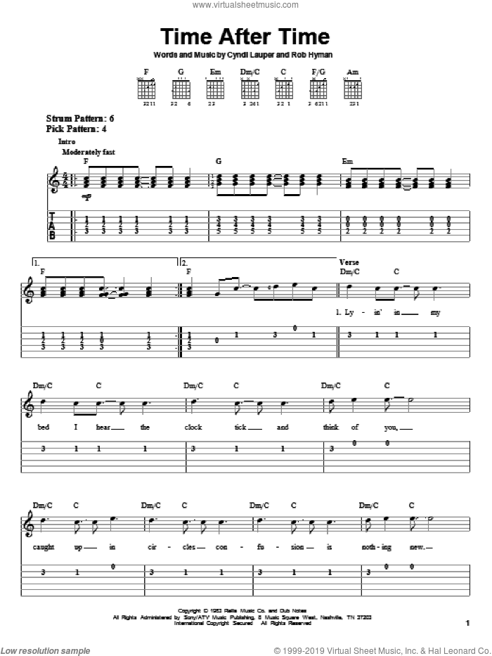 Time After Time sheet music for guitar solo (easy tablature) by Cyndi Lauper and Rob Hyman, easy guitar (easy tablature). Score Image Preview.
