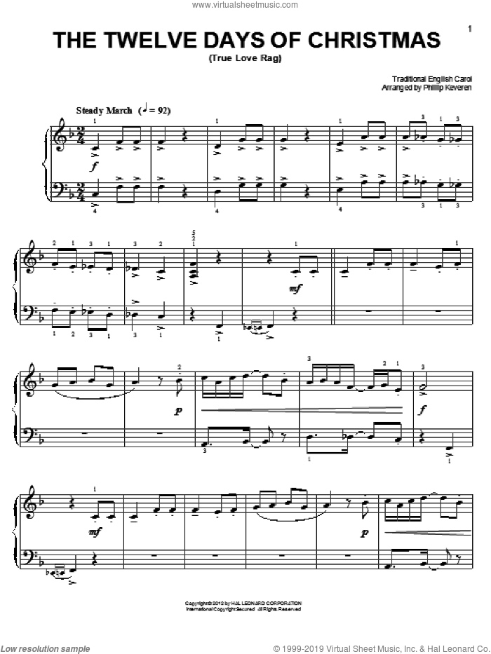 The Twelve Days Of Christmas sheet music for piano solo by Phillip Keveren and Miscellaneous, easy skill level