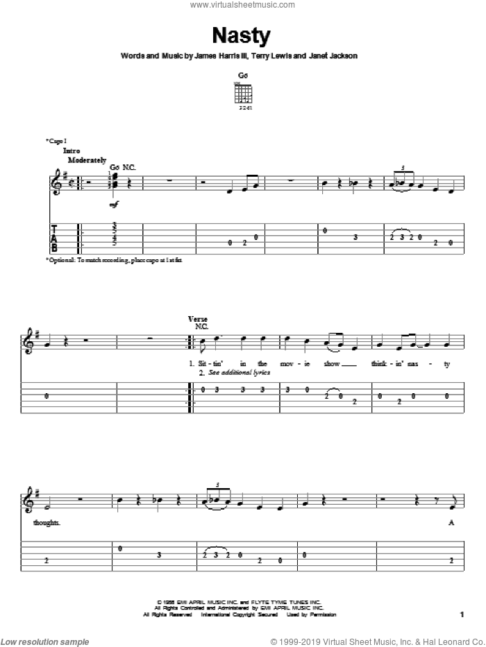Nasty sheet music for guitar solo (easy tablature) by Janet Jackson, James Harris and Terry Lewis, easy guitar (easy tablature)