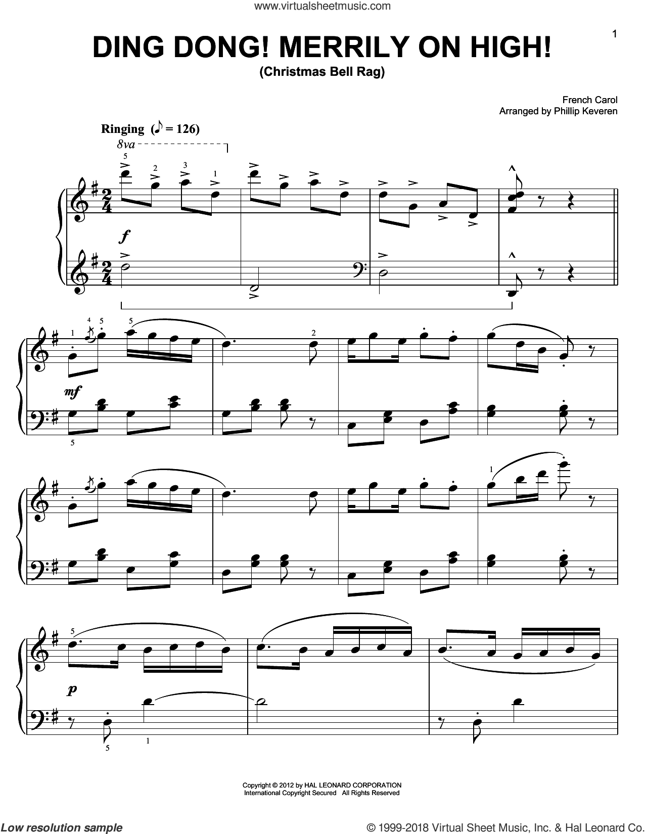 Ding Dong! Merrily On High! sheet music for piano solo by Phillip Keveren and Miscellaneous. Score Image Preview.