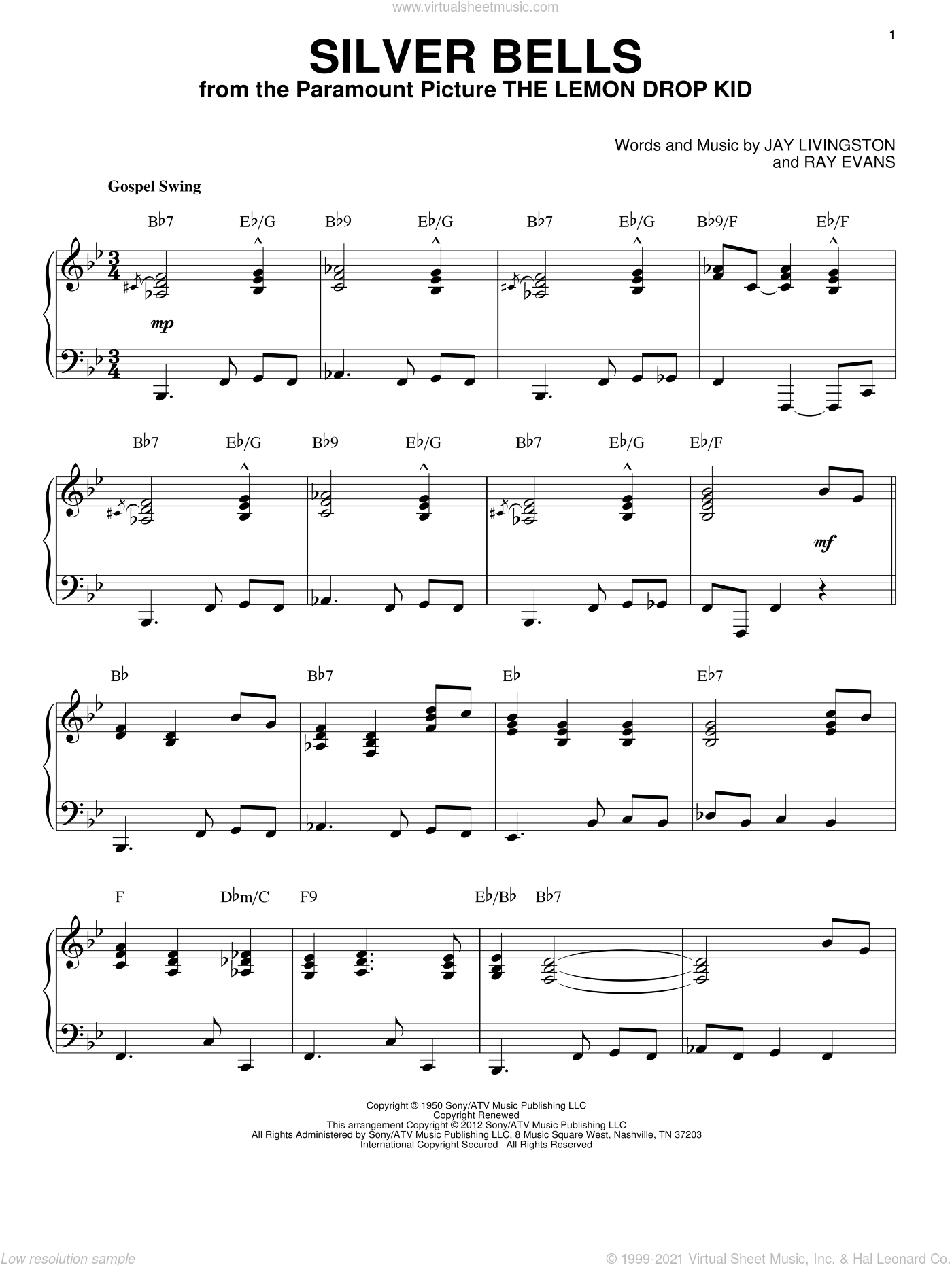 Silver Bells [Jazz version] (arr. Brent Edstrom) sheet music for piano solo by Jay Livingston and Ray Evans, intermediate skill level