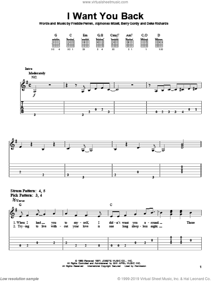 I Want You Back sheet music for guitar solo (easy tablature) by The Jackson 5, Michael Jackson, Alphonso Mizell, Berry Gordy, Deke Richards and Frederick Perren, easy guitar (easy tablature)