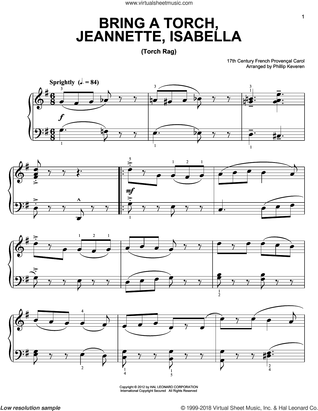 Bring A Torch, Jeannette, Isabella sheet music for piano solo by Phillip Keveren and Miscellaneous, easy. Score Image Preview.