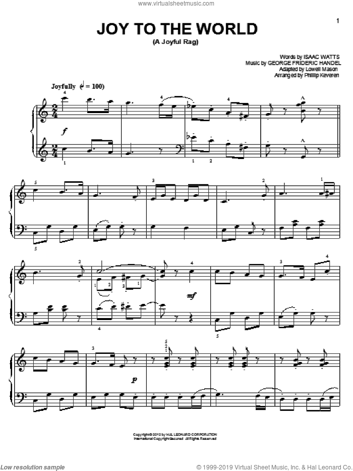 Joy To The World [Ragtime version] (arr. Phillip Keveren) sheet music for piano solo by Phillip Keveren, George Frideric Handel, Isaac Watts, Isaac Watts and George Frideric Handel and Lowell Mason, easy skill level
