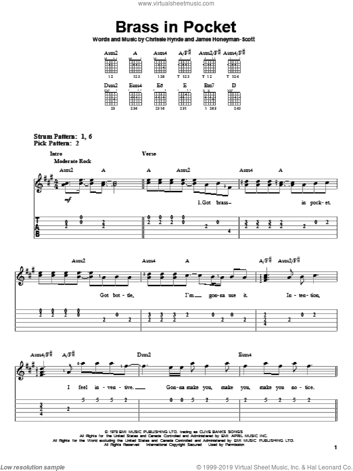 Brass In Pocket sheet music for guitar solo (easy tablature) by The Pretenders and Chrissie Hynde, easy guitar (easy tablature). Score Image Preview.