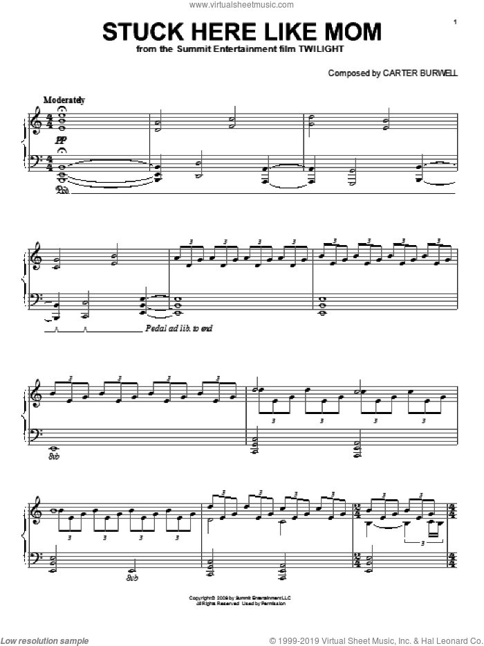 Stuck Here Like Mom sheet music for piano solo by Carter Burwell and Twilight (Movie), intermediate skill level