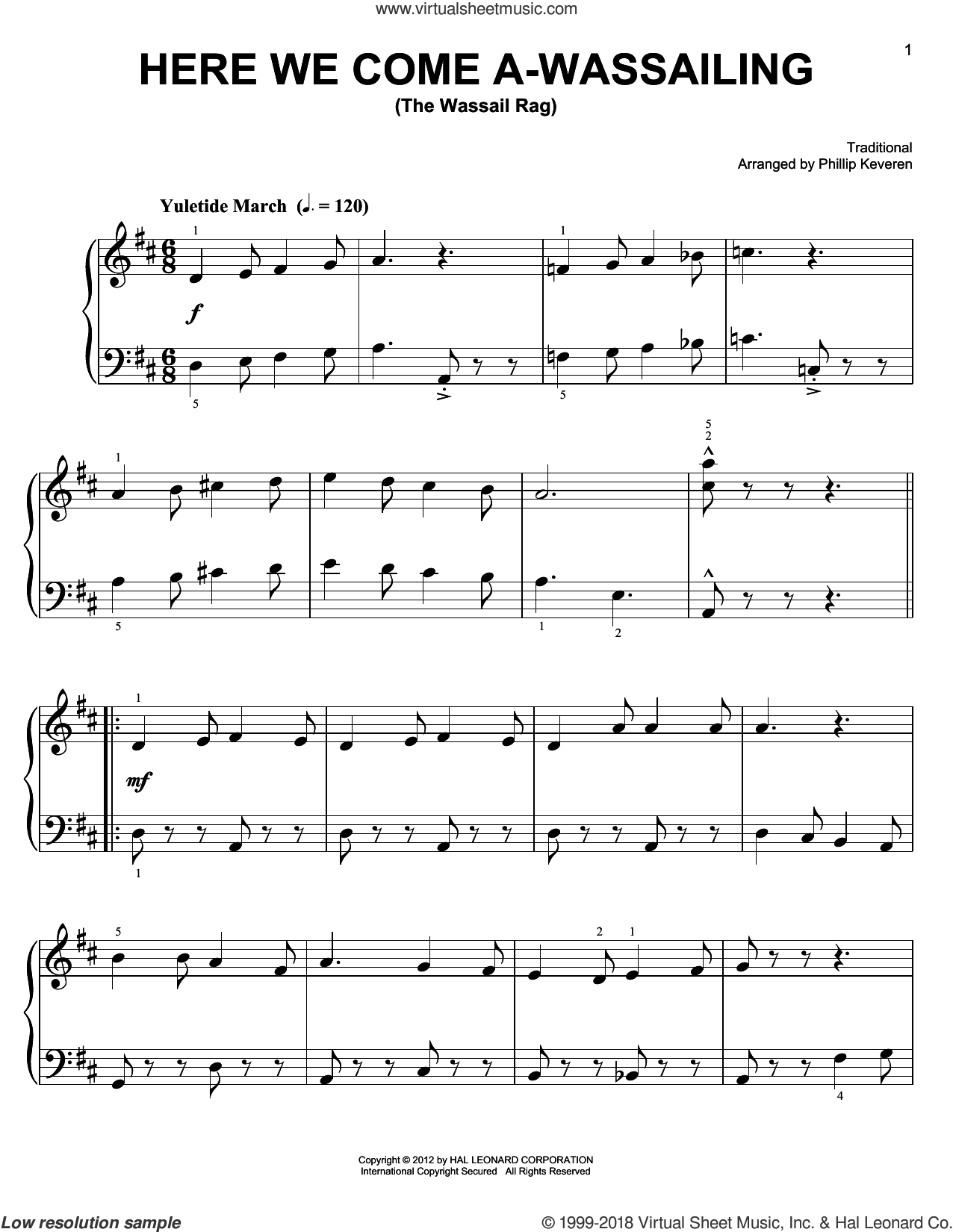 Here We Come A-Wassailing sheet music for piano solo by Phillip Keveren. Score Image Preview.