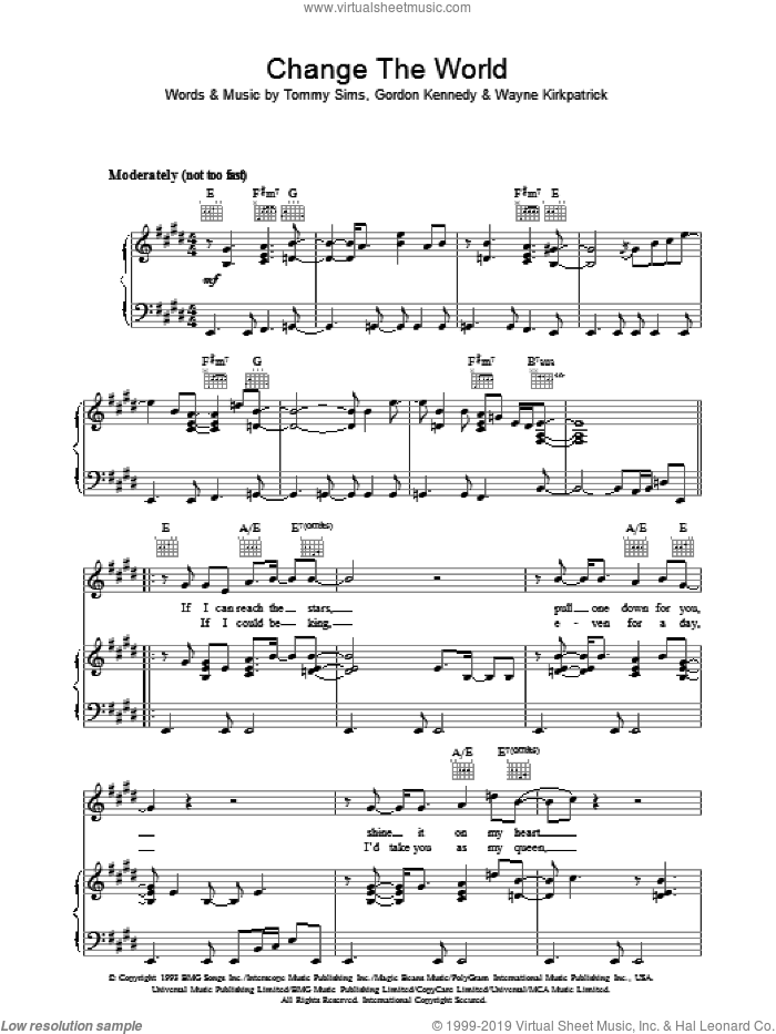 Change The World sheet music for voice, piano or guitar by Eric Clapton, Gordon Kennedy, Tommy Sims and Wayne Kirkpatrick, intermediate voice, piano or guitar. Score Image Preview.