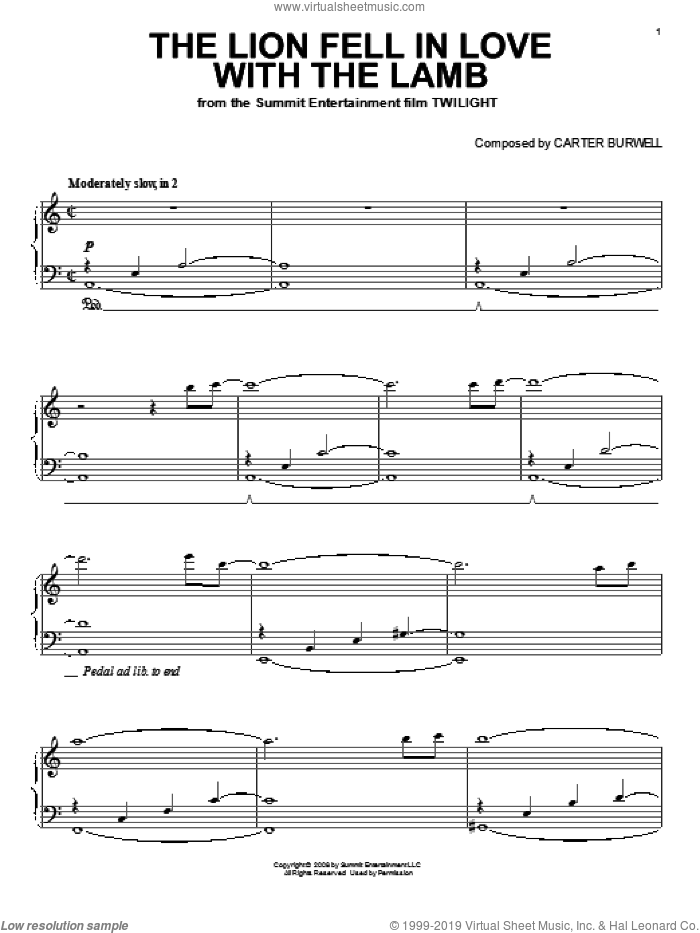 The Lion Fell In Love With The Lamb sheet music for piano solo by Carter Burwell and Twilight (Movie), intermediate skill level