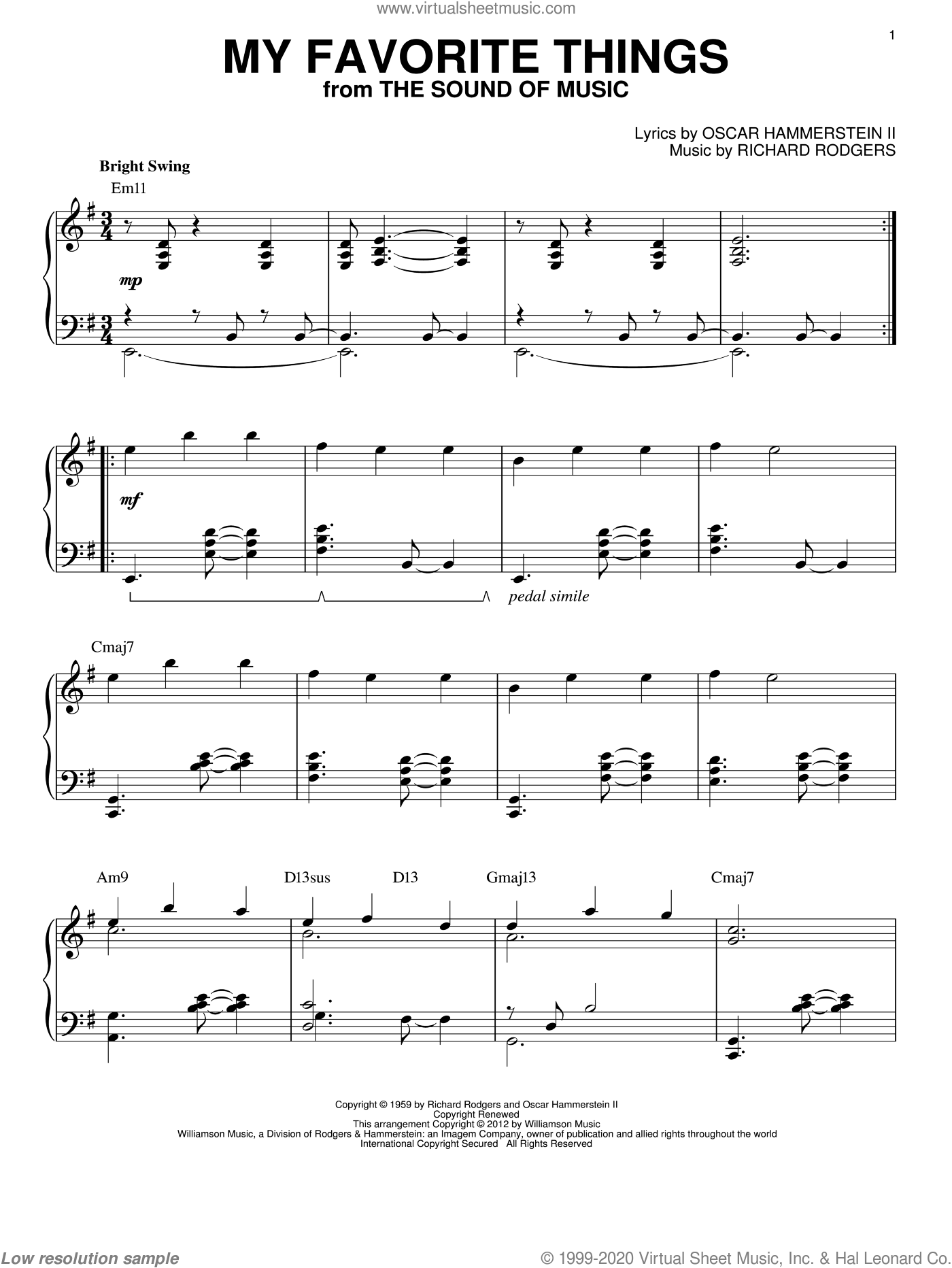 My Favorite Things sheet music for piano solo by Richard Rodgers and Oscar II Hammerstein, intermediate. Score Image Preview.