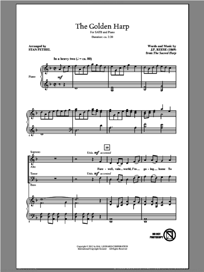 The Golden Harp sheet music for choir (SATB: soprano, alto, tenor, bass) by The Sacred Harp, J.P. Reese and Stan Pethel, intermediate skill level