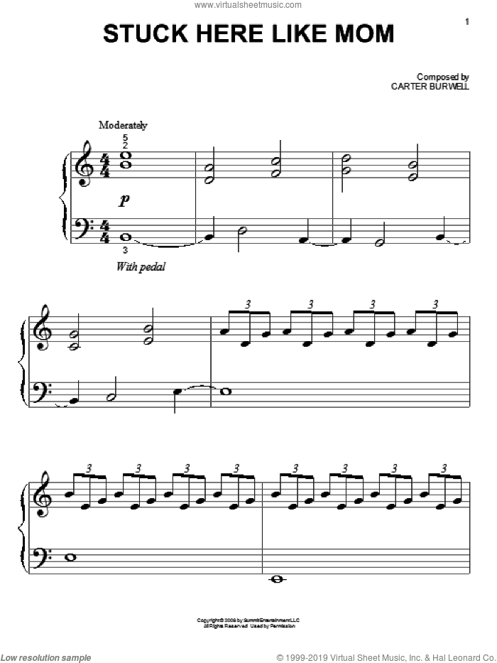 Stuck Here Like Mom sheet music for piano solo (big note book) by Carter Burwell. Score Image Preview.