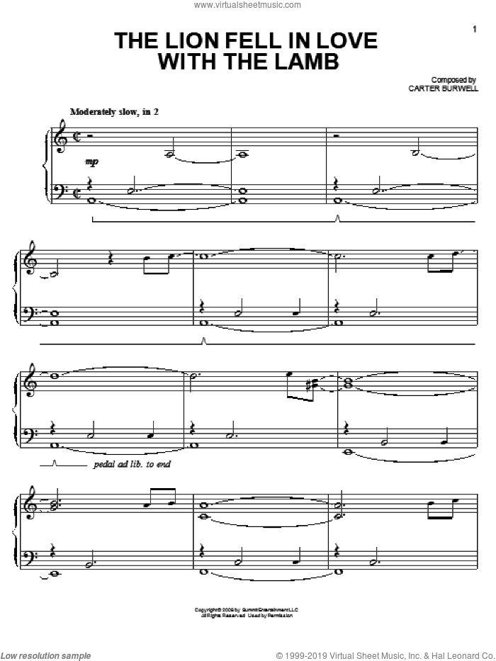 The Lion Fell In Love With The Lamb sheet music for piano solo by Carter Burwell and Twilight (Movie), easy skill level