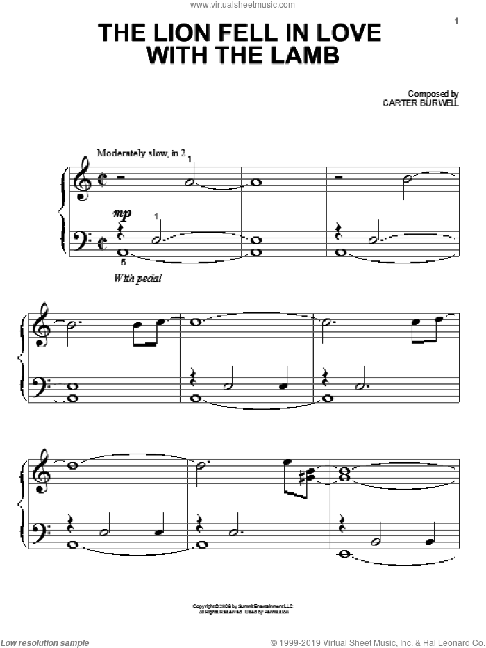 The Lion Fell In Love With The Lamb sheet music for piano solo (big note book) by Carter Burwell. Score Image Preview.