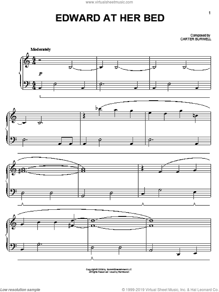 Edward At Her Bed sheet music for piano solo by Carter Burwell and Twilight (Movie), easy skill level